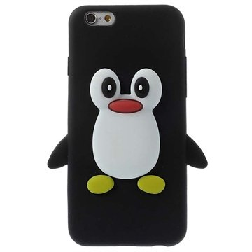 iPhone 6 / 6S 3D Penguin Silikone Cover - Sort