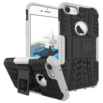 Anti-Slip iPhone 7 Hybrid Cover - Sort / Hvid