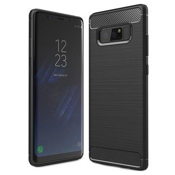 Samsung Galaxy Note 8 Børstet TPU Cover - Karbonfiber - Sort