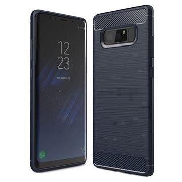 Samsung Galaxy Note 8 Børstet TPU Cover - Karbonfiber - Mørkeblå