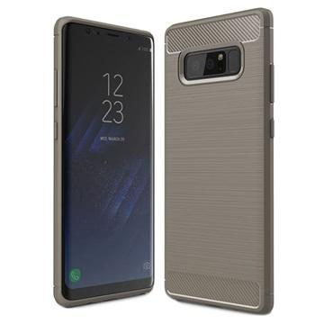 Samsung Galaxy Note 8 Børstet TPU Cover - Karbonfiber - Grå