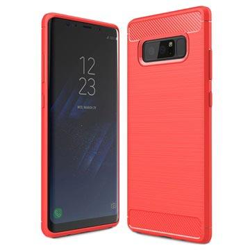Samsung Galaxy Note 8 Børstet TPU Cover - Karbonfiber - Rød