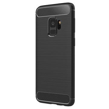 Samsung Galaxy S9 Børstet TPU Cover - Karbonfiber - Sort