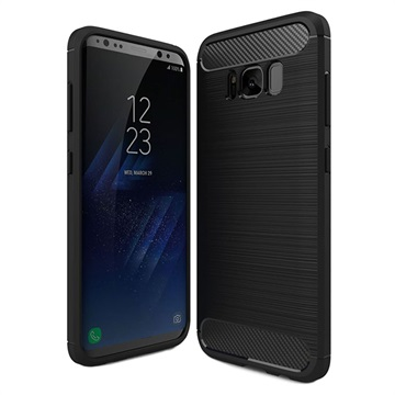 Samsung Galaxy S8 Børstet TPU Cover - Karbonfiber - Sort