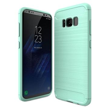 Samsung Galaxy S8 Børstet TPU Cover - Karbonfiber - Cyan