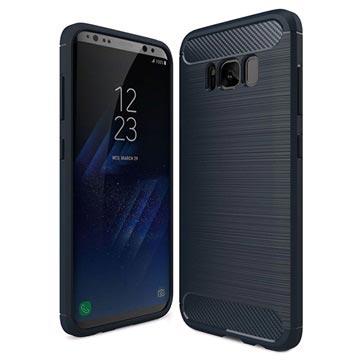 Samsung Galaxy S8 Børstet TPU Cover - Karbonfiber - Mørkeblå