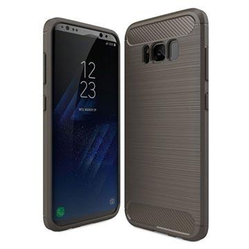 Samsung Galaxy S8 Børstet TPU Cover - Karbonfiber - Grå