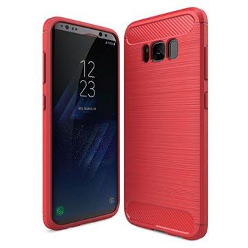 Samsung Galaxy S8 Børstet TPU Cover - Karbonfiber - Rød