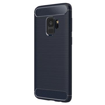 Samsung Galaxy S9 Børstet TPU Cover - Karbonfiber - Mørkeblå