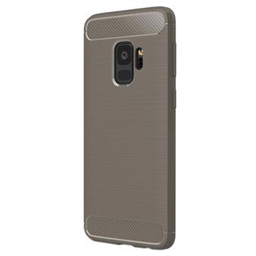 Samsung Galaxy S9 Børstet TPU Cover - Karbonfiber - Grå