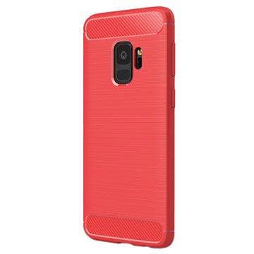 Samsung Galaxy S9 Børstet TPU Cover - Karbonfiber - Rød