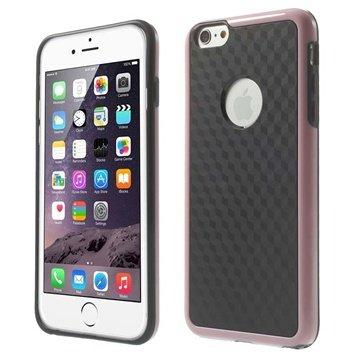 iPhone 6 Plus / 6S Plus Cube Design Hybrid Cover - Sort / Pink