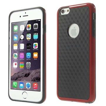 iPhone 6 Plus / 6S Plus Cube Design Hybrid Cover - Sort / Rød