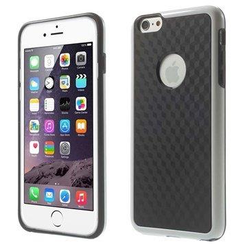 iPhone 6 Plus / 6S Plus Cube Design Hybrid Cover - Sort / Hvid
