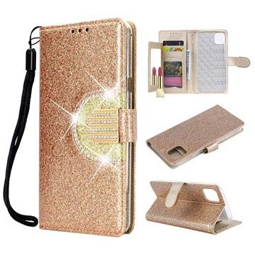 iPhone 11 Pro Glitter Etui med Pung og Spejl - Guld