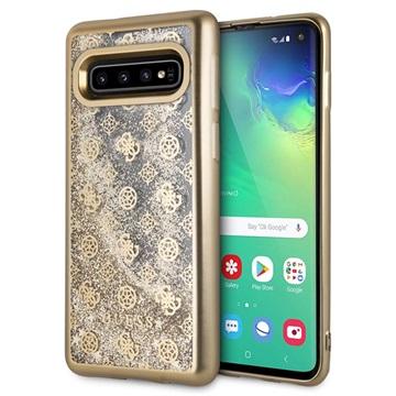 Guess 4G Peony Liquid Glitter Samsung Galaxy S10 Cover - Guld