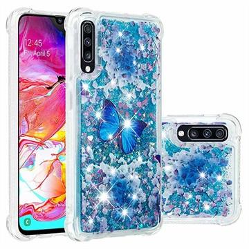 Liquid Glitter Samsung Galaxy A70 TPU Cover - Blå Sommerfugl
