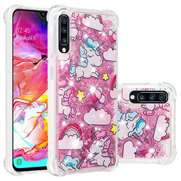 Liquid Glitter Samsung Galaxy A70 TPU Cover - Enhjørninger