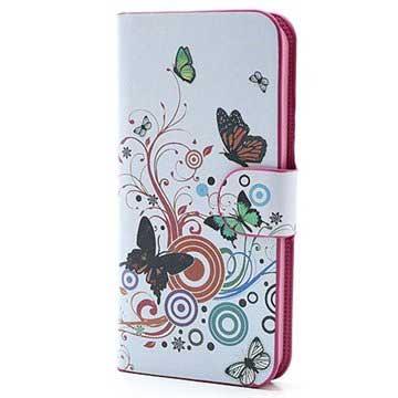 iPhone 5 / 5S / SE Pung Læder Taske - Sommerfugle / Cirkler