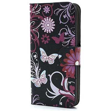 iPhone 5 / 5S / SE Pung Læder Taske - Sommerfugle / Blomster