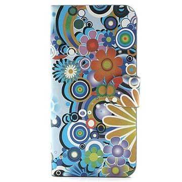 iPhone 5 / 5S / SE Pung Læder Taske - Farverige Blomster - Hvid