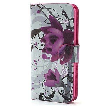 iPhone 5 / 5S / SE Pung Læder Taske - Lotusblomst