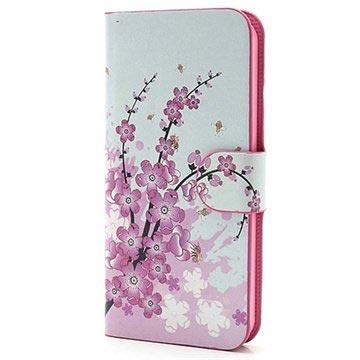 iPhone 5 / 5S / SE Pung / Lædertaske - Pink Blomster