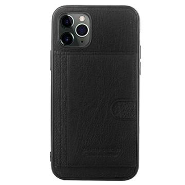 Pierre Cardin iPhone 11 Pro Læder Dækket TPU Cover - Sort