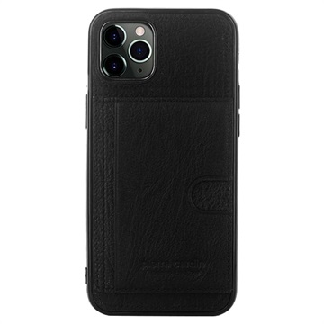 Pierre Cardin iPhone 11 Pro Max Læder Dækket TPU Cover - Sort