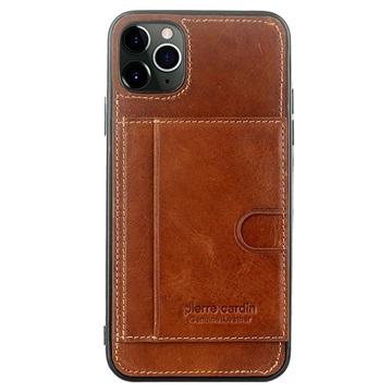 Pierre Cardin iPhone 11 Pro Max Læder Dækket TPU Cover - Brun