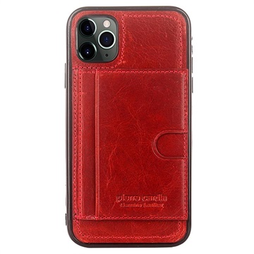 Pierre Cardin iPhone 11 Pro Læder Dækket TPU Cover - Rød