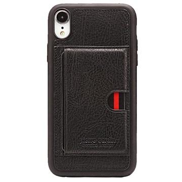 Pierre Cardin Læder Dækket iPhone XR TPU Cover med Kickstand - Sort