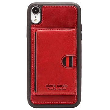 Pierre Cardin Læder Dækket iPhone XR TPU Cover med Kickstand - Rød