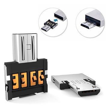 Transportabel Mini MicroUSB / USB OTG Adapter - Sølv