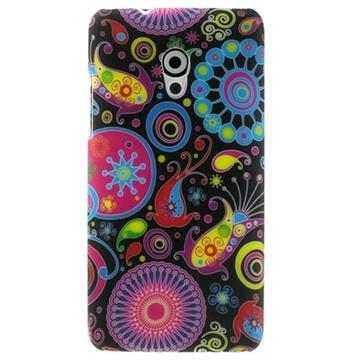 HTC Desire 700 Dual Sim Gummiagtig Cover - Farverige Blomster - Sort MTP Products til  - MediaNyt.dk
