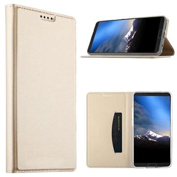 Samsung Galaxy S9 Slim Flip Cover med Kortholder - Guld