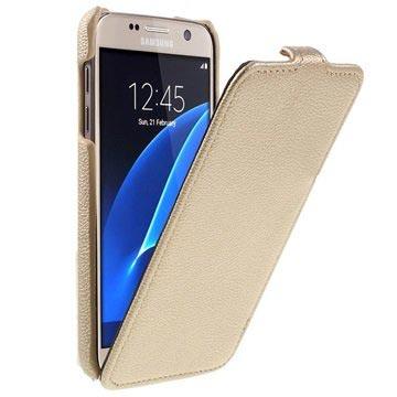 Samsung Galaxy S7 Tynd Vertikal Flip Taske - Guld