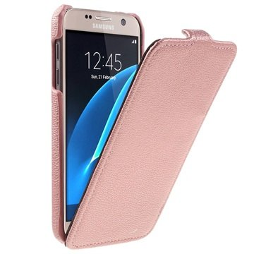 Samsung Galaxy S7 Tynd Vertikal Flip Taske - Rødguld