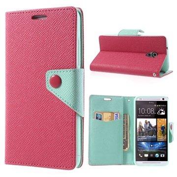 HTC Desire 700 Dual Sim Two-Tone Pung Læder Taske - Cyan / Hot Pink MTP Products til  - MediaNyt