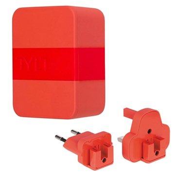 Tylt 4.8A Dobbelt USB Rejseoplader - EU, UK, US - Rød