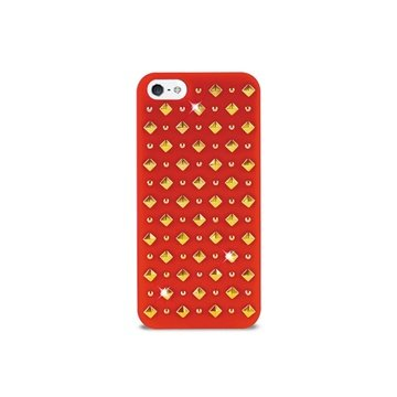 iPhone 5 / 5S / SE Puro Rock Round And Square Studs Cover - Rød