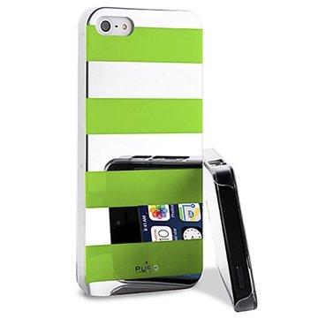 iPhone 5 / 5S / SE Puro Stripe Cover - Sølv / Grøn