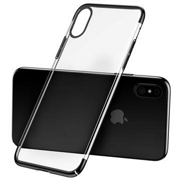 Baseus Glitter Serie iPhone X Plastik Cover - Sort / Gennemsigtig
