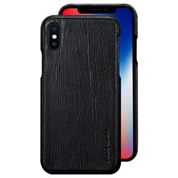 Pierre Cardin Læder Dækket iPhone X Cover - Sort