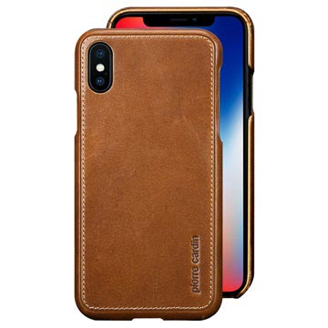 Pierre Cardin Læder Dækket iPhone X Cover - Brun