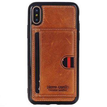 Pierre Cardin Læder Dækket iPhone X TPU Cover med Kickstand - Brun