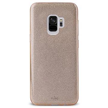 Puro Shine Glitter Samsung Galaxy S9 Silikon Cover - Guld