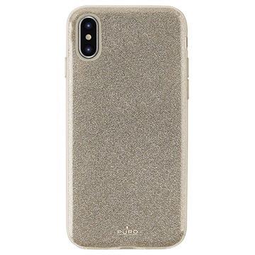 Puro Shine Glitter iPhone XS Max TPU Cover - Guld