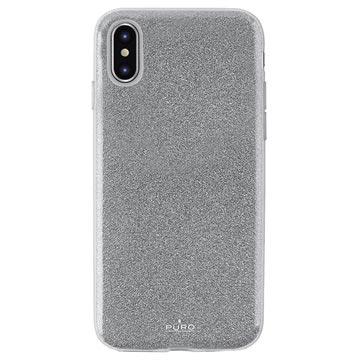 Puro Shine Glitter iPhone XS Max TPU Cover - Sølv