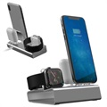 3-in-1 Aluminum Alloy Docking Station - iPhone, Apple Watch, AirPods - Grå